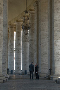Inside the columns of Apostolic Palace in Vatican City