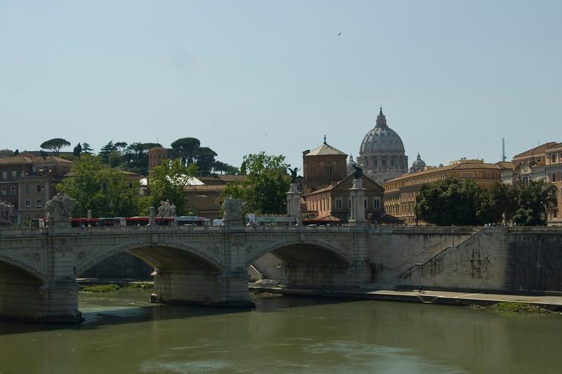 The Ponte Vittorio Emanuele bridge over Tibet River in Vatican, Rome, Italy