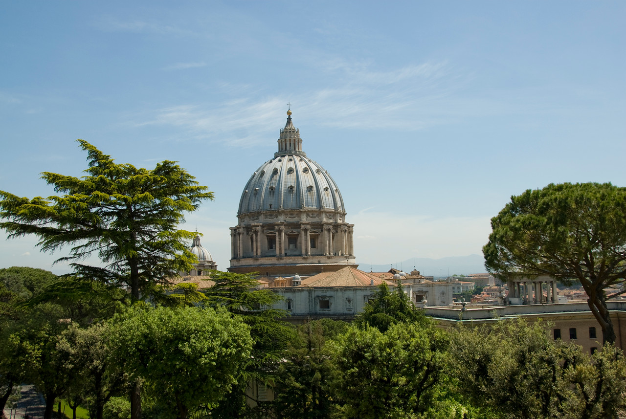 St Peter's Basilica dome as seen from Vatican City Gardens