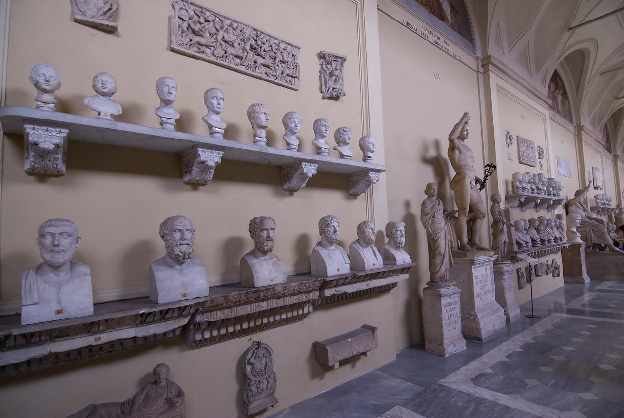 Lots of sculptures inside Vatican Museum in Rome, Italy