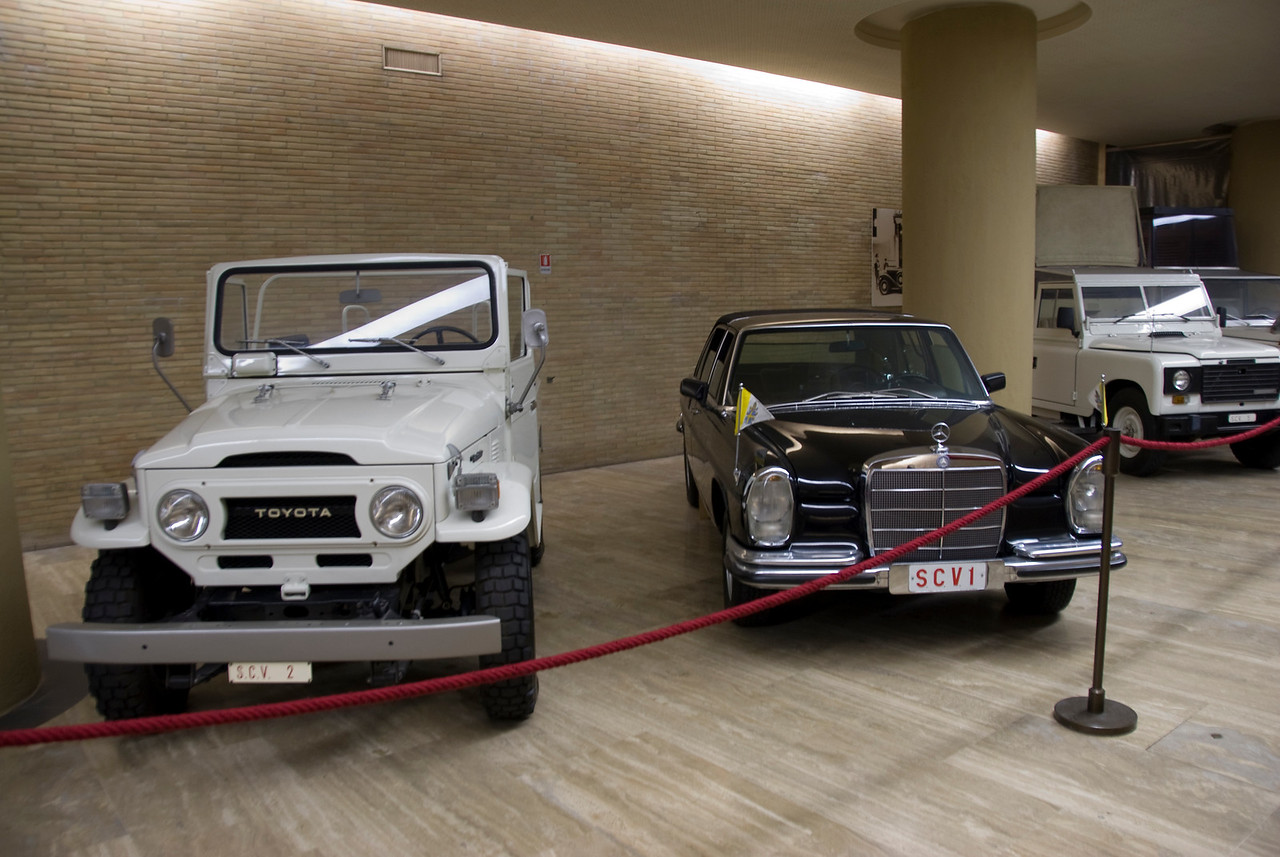 Vintage cars at Vatican Museum in Rome, Italy