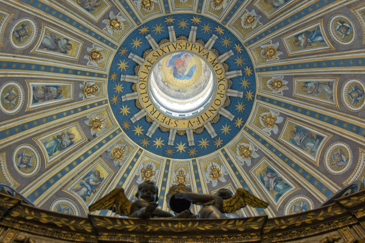 Ceiling at the dome of St Peter's Basilica - Vatican City
