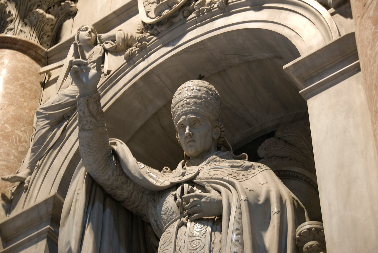 Statue of a Pope at St Peter's Basilica in Vatican City