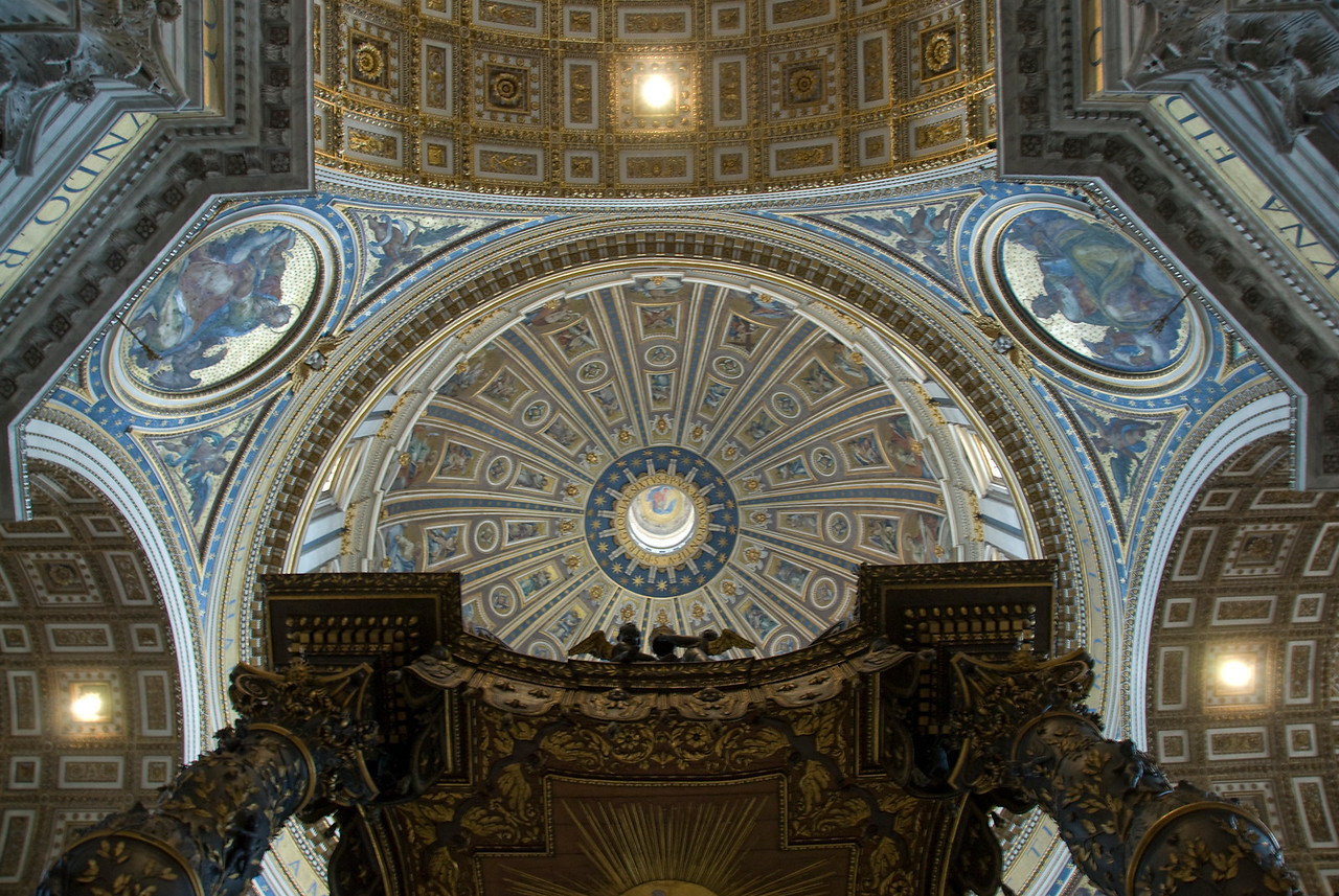 Looking up the dome of St Peter's Basilica in Vatican City