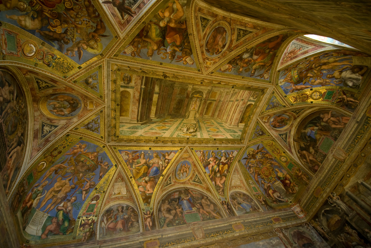 Details of ceiling inside Vatican Museums in Rome, Italy