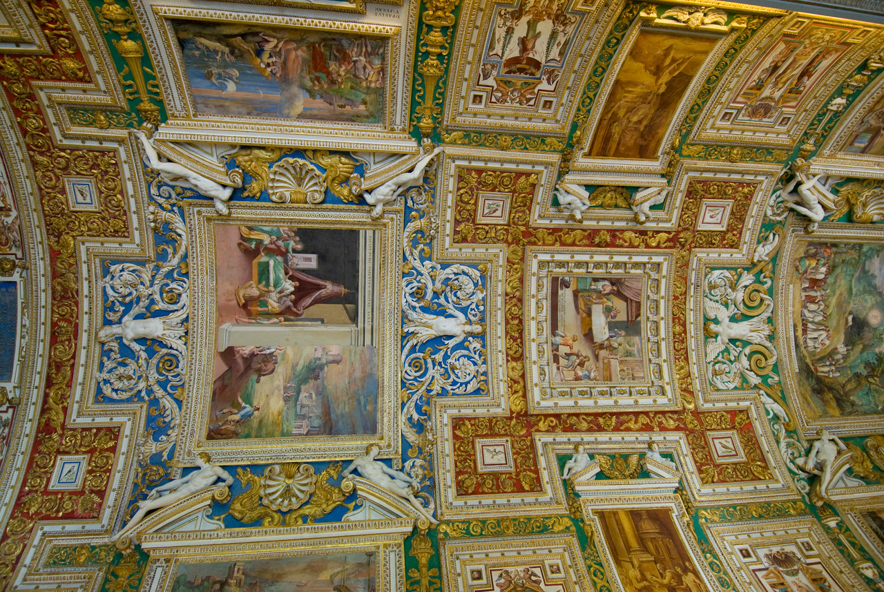 Beautiful ceiling inside Vatican Museums in Rome, Italy