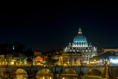 View of the St Peter's Basilica at night - Vatican, Rome, Italy