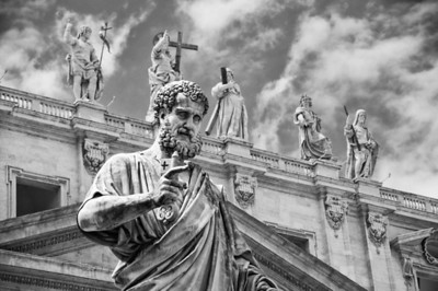 Statue of Simon Peter in front of the St Peter's Basilica in Vatican, Rome, Italy