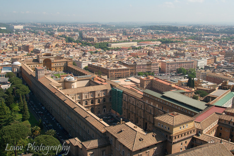 "View of <a target=""NEWWIN"" href=""http://en.wikipedia.org/wiki/Vatican_Museums"">Vatican Museums</a> from <a target=""NEWWIN"" href=""http://en.wikipedia.org/wiki/St_Peters_Basilica"">St. Peter's Basilica</a>, Vatican City"
