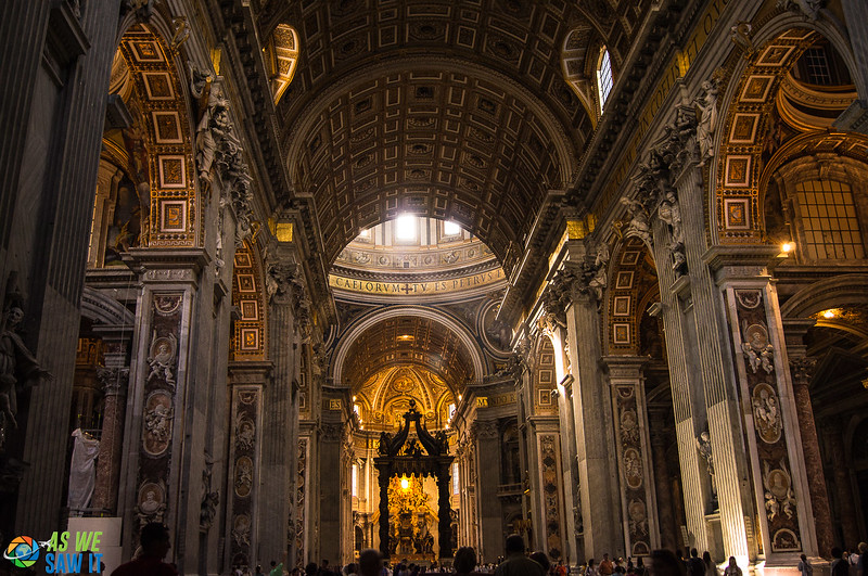 Ceiling and altar of St Peters Basilica