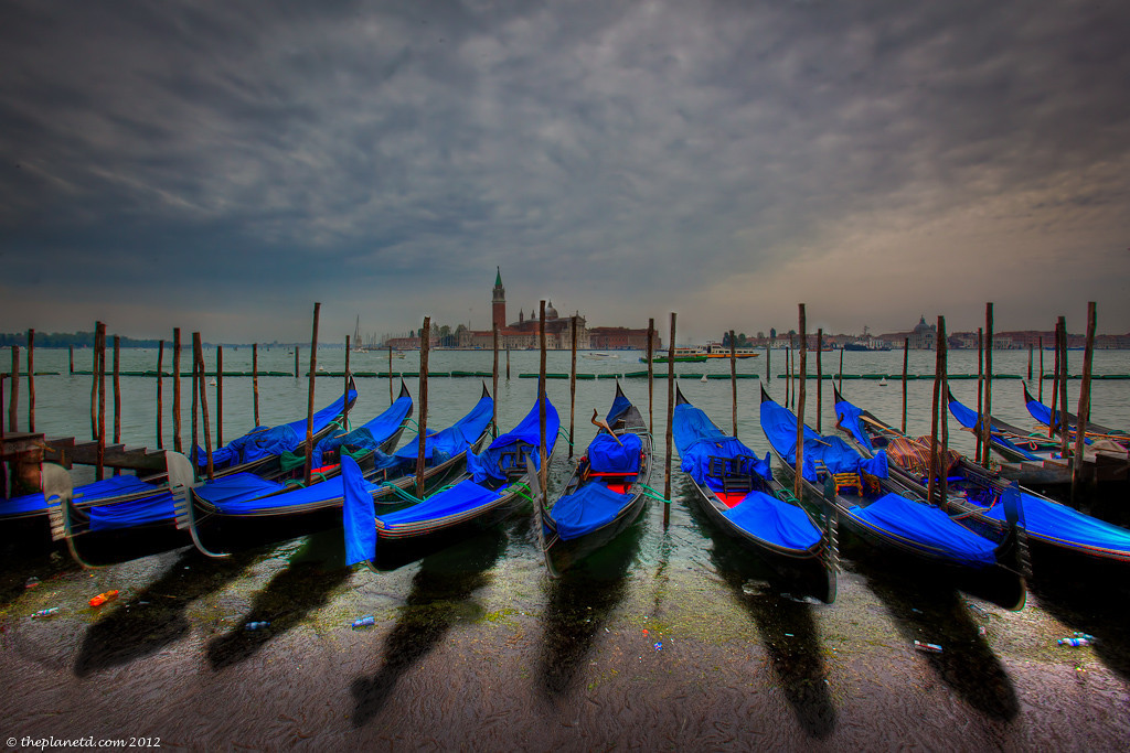Blue Gondolas in Venice on the Canal