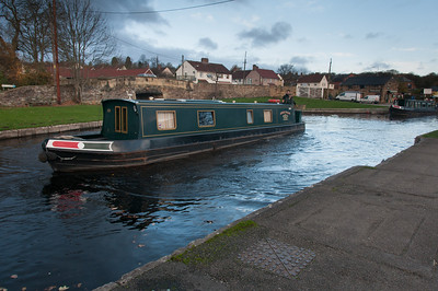 Canal boat cruising the Llangollen Canal in Wales