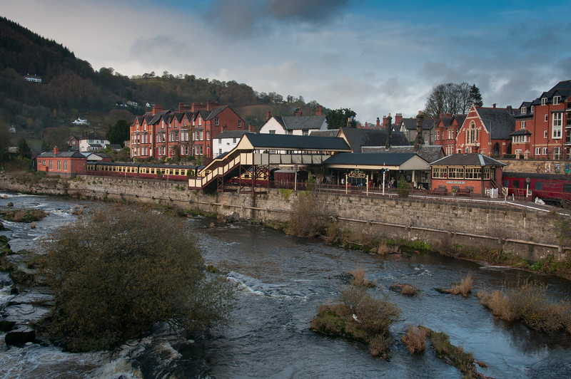 River Dee and the Llangollen station in Wales, England