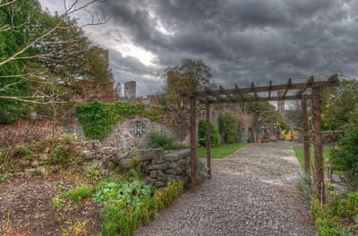 Gate leading to Chepstow Castle in Wales