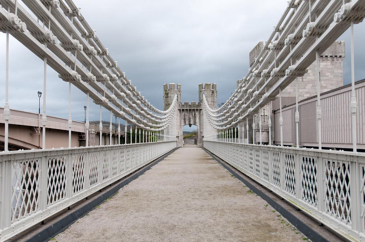 The Conwy Suspension Bridge in Wales, England
