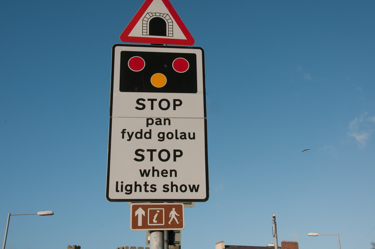 Traffic sign in Wales, England