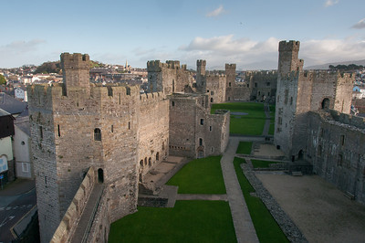 Aerial view of Caernarfon Castle in Wales, England