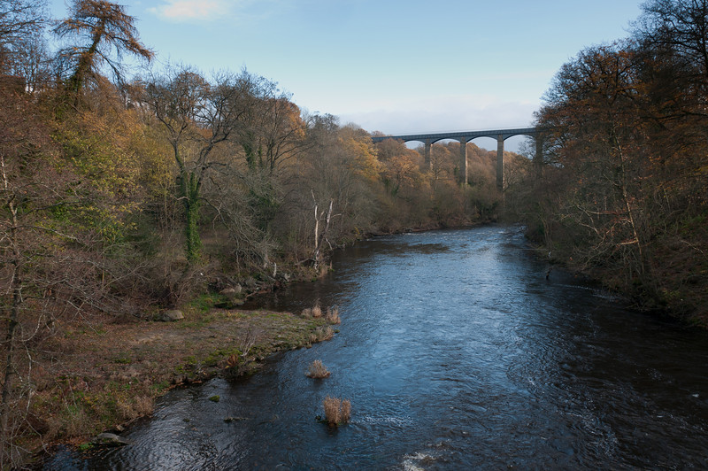 View of Pontcysyllte Aqueduct and Canal from River Dee - Wales