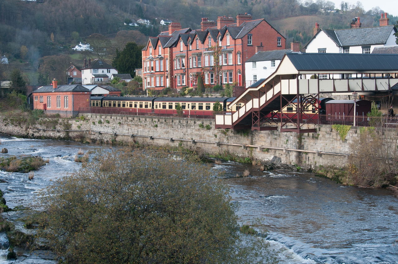 River Dee and Llangollen Station in Wales, England