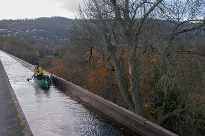 Small boat in Pontcysyllte Aqueduct over River Dee in Wales