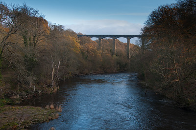 View of Pontcysyllte Aqueduct from River Dee in Wales