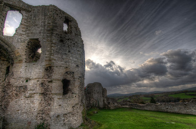 Heavy clouds above Chepstow Castle in Wales