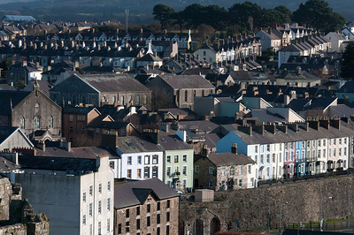 Aerial view of the skyline in Wales, England