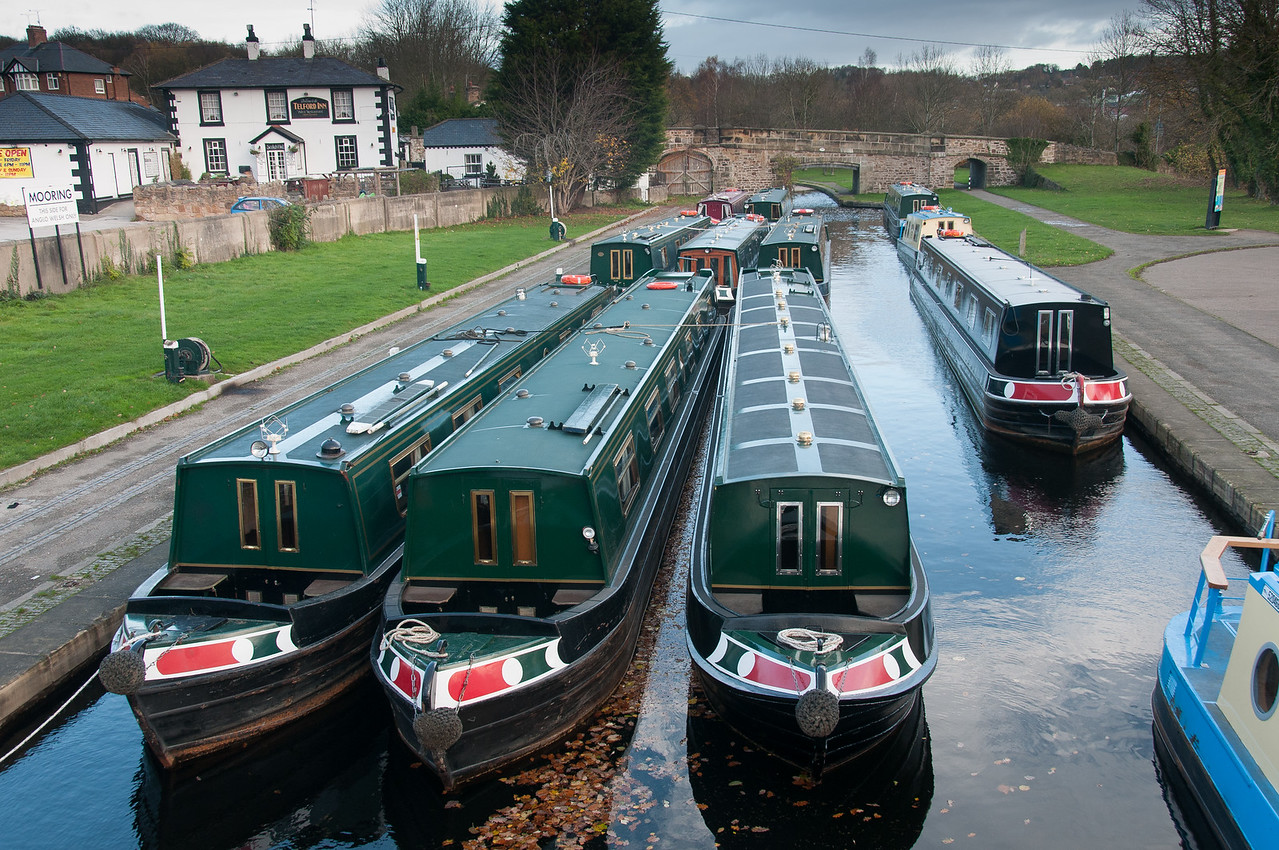 Canal boats in Llangollen Canal in Wales