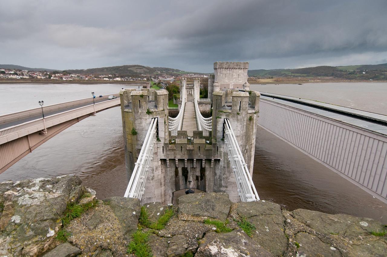 Conwy Suspension Bridge in Wales, England