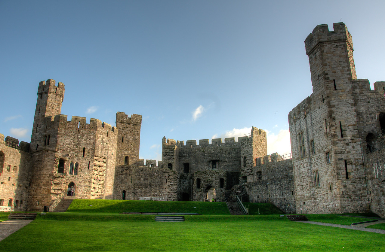 Inside the courtyard of Chepstow Castle in Wales
