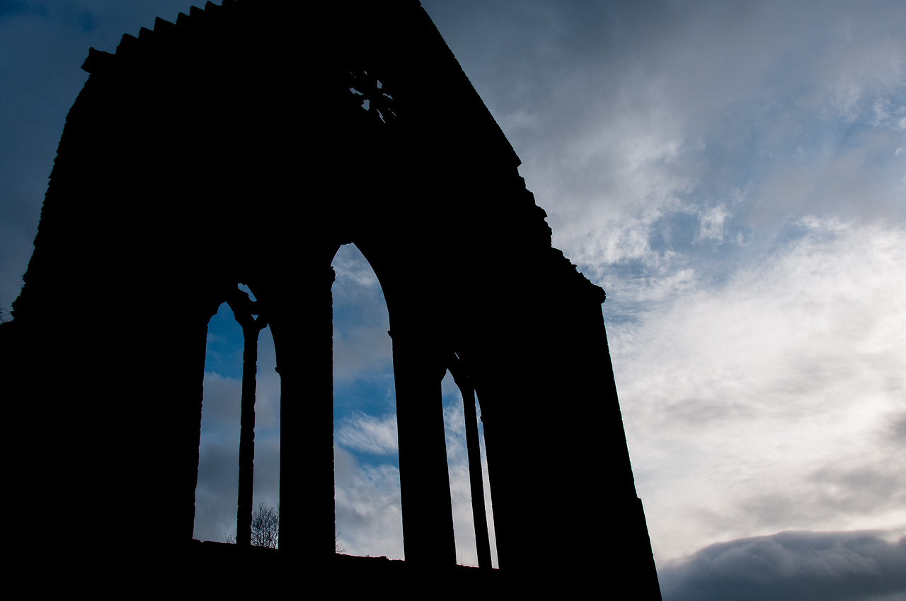 Silhouette of Valle Crucis Abbey in sunset - Wales