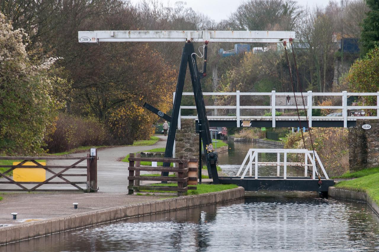 Small wooden bridge across Llangollen Canal in Wales