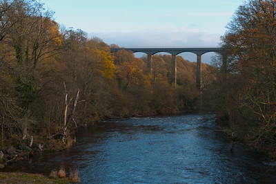 View of Pontcysyllte Aqueduct and Canal Llangollen from River Dee - Wales