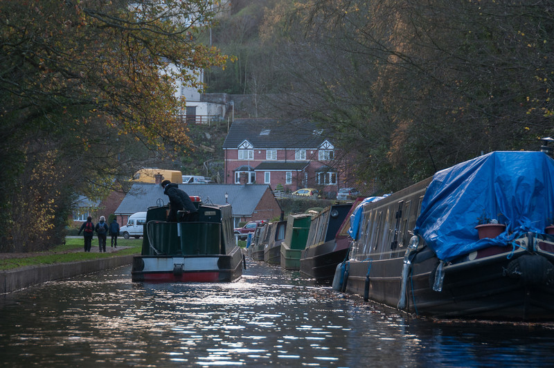 Canal boat cruising through Llangollen Canal in Wales