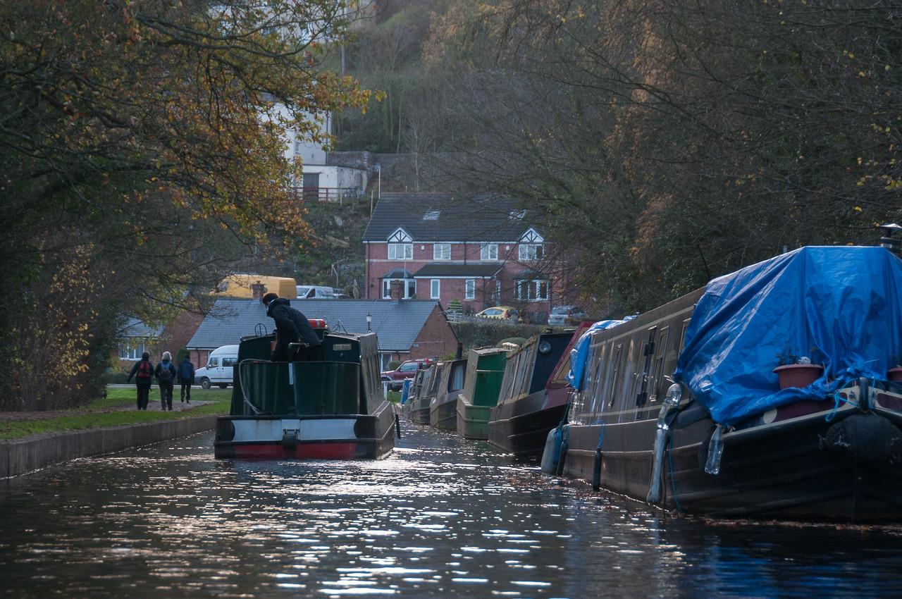 Canal boat cruising through Llangollen Canal in Wales