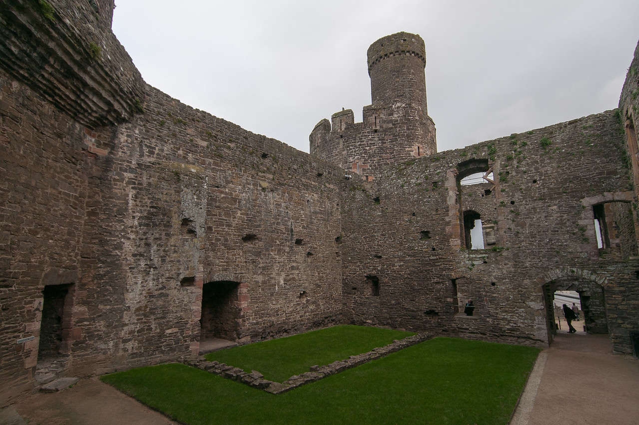 Inside the courtyard of Chepstow Castle in Wales, England