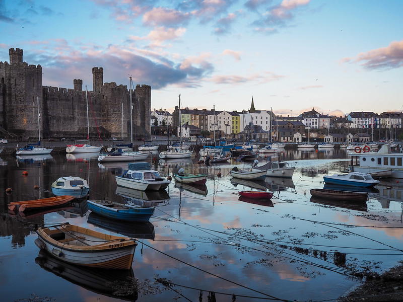 Caernarfon, Wales at sunset