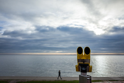 Yellow telescope at the south beach in Wilhelmshaven, Germany.