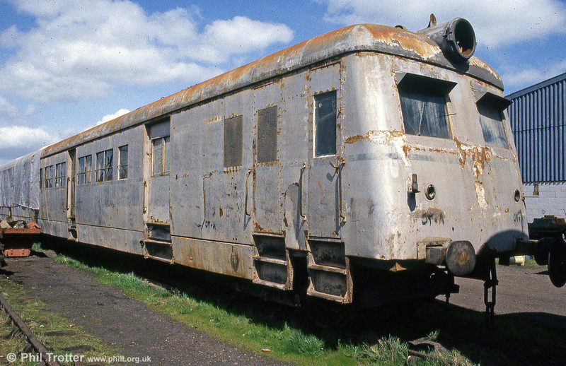 Egyptian National Railways Sentinel / Metro-Cammell Steam Railcar No. 5208 built in 1951 at Quainton Road in spring, 1985. The unit has Sentinel works number 9518 and is one of 10 supplied to ENR.