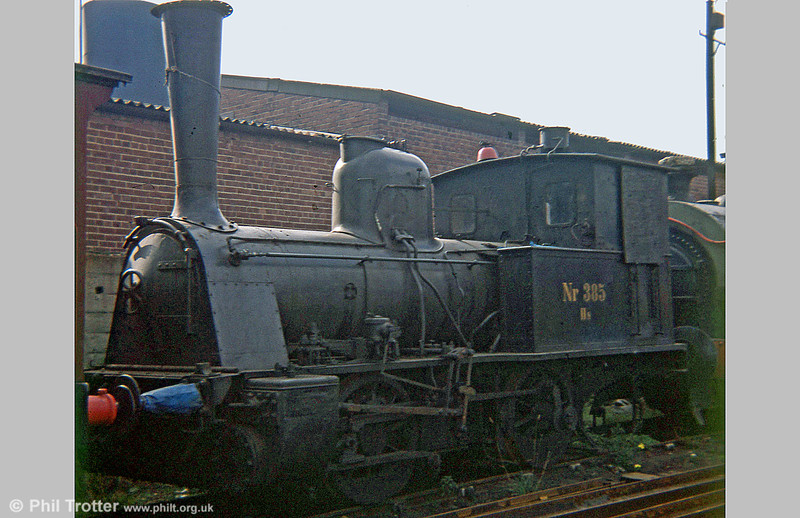 Danish State Railways (DSB) 0-4-0WT no. 385 at the Middleton Railway, Leeds in 1978. It was built by the German firm of Richard Hartmann at Chemnitz in 1895 and used to shunt stock on and off the ferries that plied between the various islands of Denmark.