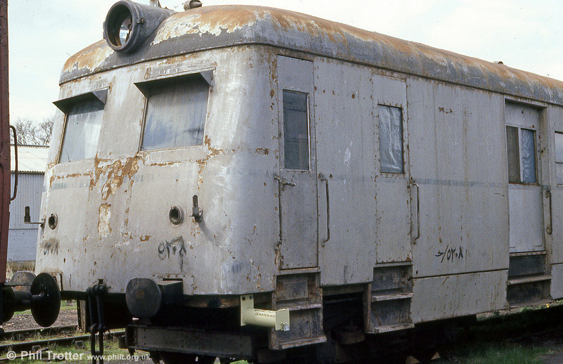 The other side of Egyptian National Railways Sentinel / Metro-Cammell Steam Railcar No. 5208 built in 1951 at Quainton Road in spring, 1985. The unit has Sentinel works number 9518.