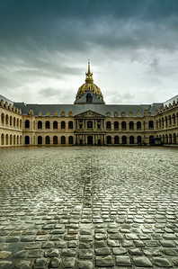 Courtyard of Les Invalides hotel . Paris, France