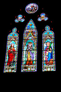 Wonderful Stained-glass Windows. Inside St. Maurice Cathedral, Vienne, France.