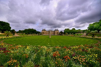 Wide angle view of Jardin du Luxembourg, Paris, France