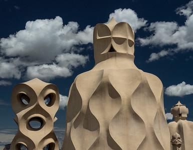 Gaudi sculptures on roof of La Pradrera, Barcelona
