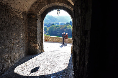 Framed Couple Enjoying the View. Viviers, France.