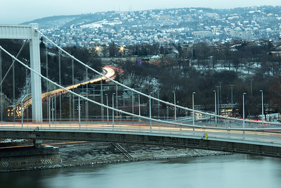 Budapest bridge on winter's eve