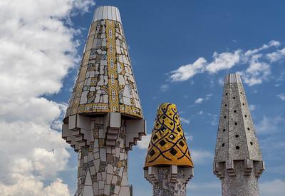 Chimneys by Gaudi on Palau Guell, Barcelona