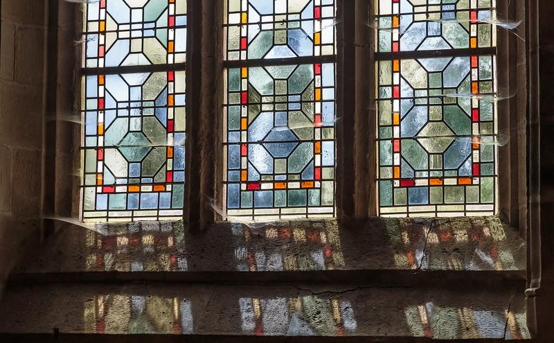 Stained glass window, Notre-Dame-de-la-Tronchaye,  Rochefort en Terre, Brittany