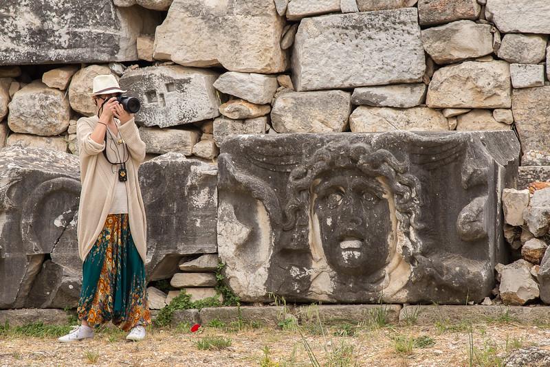 Medusa amongst the stonework, Didyma, near Ephesus, Turkey